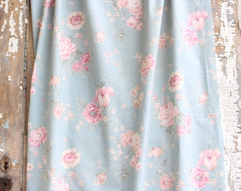 Soft Muted Time Worn Pink Cabbage Roses Vintage Floral Pattern Fabric