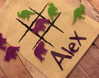 Personalized Tic Tac Toe Game - Classroom Gift - Classroom Valentine's - Road Trip - Dinosaur - Tic Tac Toe - Stocking Stuffer