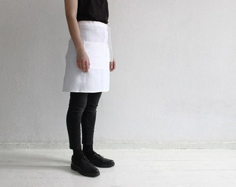 White linen apron, Half apron, Waist apron, White apron, Kitchen apron, Short apron for cook, Soft linen aprons