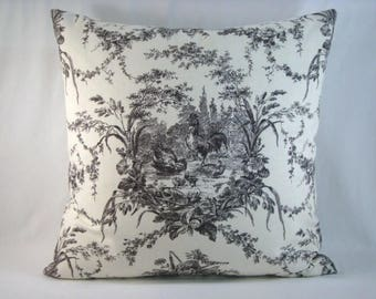 Waverly French Country Pillow Toile de Jouy Lumbar Pillow Cover Toile and Ticking Pillow 20x20 Pillow Cover