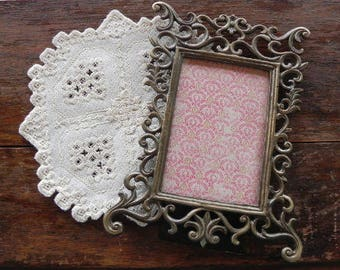 Ornate Vintage French Aged Brass/Black Picture Frame