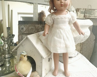 Vintage Shabby Composition Doll With Painted Nails and Blinky Eyes