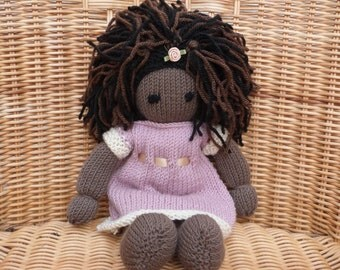 """12"""" African Doll Handmade Black Doll Hand knitted Doll in Soft Merino 100% wool Doll with Pretty Knitted Removable Dress"""