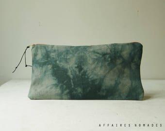 Bohemian Pouch. Utility pouch cosmetic bag.  Bag in bag, bag divider. Pencil case.  Hand dyed pouch. Linen pouch. Wallet linen purse.