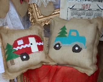 Turquoise vintage truck with Christmas tree pillow / burlap pillow with truck / rustic throw pillow / vintage truck / glamping / pickup eO18