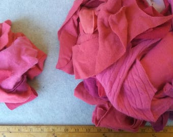 Cashmere Recycled Remnants - Cherry Red through Hot Pink for DIY Crafts and Projects - Choose Bundle Size
