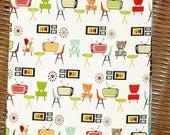 RETRO ATOMIC ROOM Print  Kitchen Towel A Vintage Look  Cotton Waffle Towel