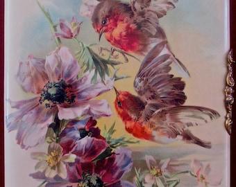 Victorian 1880s Photograph Album Flying Birds Cover 45 Cabinet Photos CDV