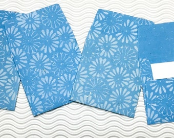 16 teeny tiny envelopes blue daisy handmade paper miniature note set square stationery party favors weddings guest book table numbers