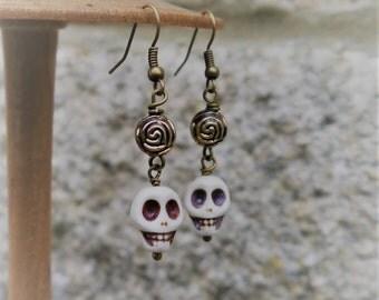Day of the Dead Mexican White Howlite Fiesta Skull Gemstone Earrings Frida Kahlo inspired