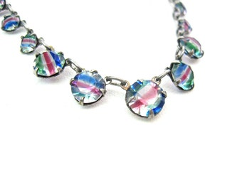 Art Deco Necklace. Open Back Crystal. Rainbow / Iris Glass. Pastel Rose Pink, Blue, Green Stripe. 835 Silver. Vintage 1930s Art Deco Jewelry