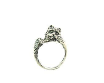 Cat Ring. Sterling Silver Wrap Style. Long Hair Persian Kitty Cat. Adjustable Head & Tail Bypass Ring. Vintage 3D Cast Feline Animal Jewelry