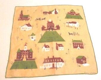 Vintage Retro Emily Whaley Am Designer Printed Linen Handkerchief Williamsburg Textile Fashion Graphics
