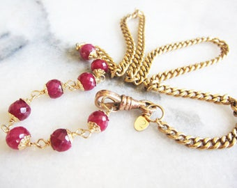 Antique Watch Chain, Chunky Gold Chain, Antique Necklace with Ruby Gemstones, Two Girls Gems