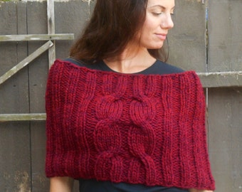 Chunky Cranberry Red Cowl/Capelet/Shoulder Cozy/Poncho
