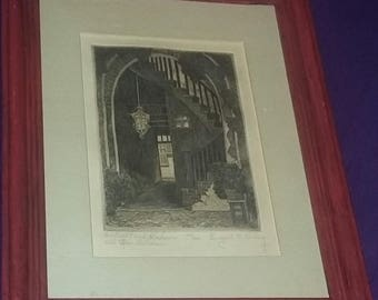 Vintage New Orleans artist signed Etching Listed Loving Architectural New Orleans