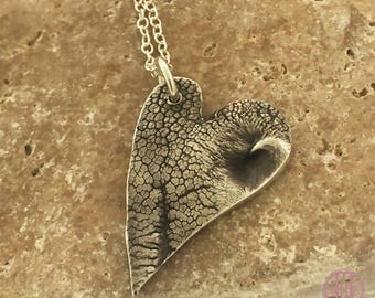 Large Dog nose print heart charm necklace, custom dog print, dog or puppy nose print keepsake in pure, .999 fine silver