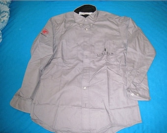 Vintage Lincoln Mercury Gray Men's Dealership Uniform Shirt With Logos By Red Kap / NOS / Sz. 46