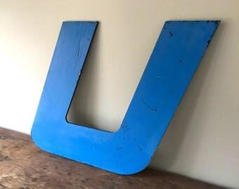 U - Reclaimed metal letter - XL