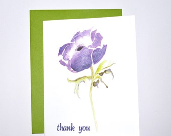 Note Card Set, Note Cards Thank You, Folded A2 Note Cards Blank, Stationery, Note Cards Purple Flower
