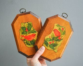 Vintage Wooden Summer Tanager Wall Hangings - Bird Decor