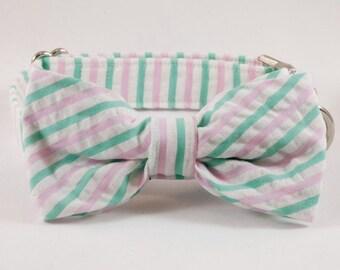 Preppy Pink and Green Seersucker Bow Tie Dog Collar