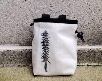 chalkbag, chalk bag, chalkbags, chalk bags, rock climbing chalk bag, blockprinted, handprinted, linocut, rockclimbing, linoprint, tree