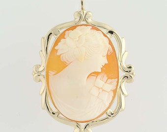 Vintage Carved Shell Cameo Brooch / Pendant - 10k Yellow Gold N4475