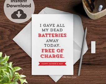DIY Printable Father's Day Card, Funny Dad Jokes, Instant Download Card for Men, Funny Greeting Card