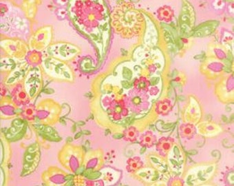 Colette Floral Rose(Pink) Paisley, 33050 11 by Chez Moi, Moda Fabrics, Large Scale Pink Paisley, Sold In Half Yard