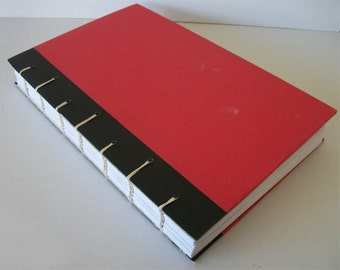 Red and Black Handbound Journal Upcycled Notebook Exposed Spine Coptic Bound Sketchbook 280 Pages