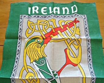 Tea Towel Souvenir Tea Towel Ireland Celtic Art Pure Linen Vintage