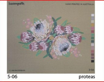 Large Imported Floral Needlepoint Canvas : Proteas