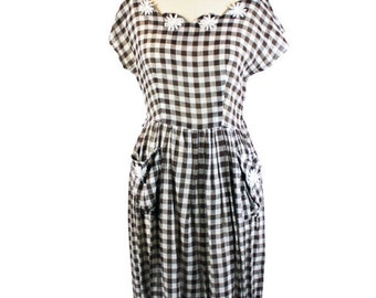 1950s Brown Gingham Dress