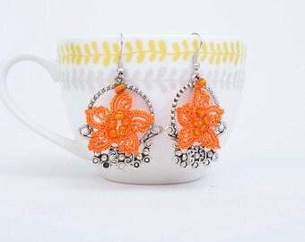 Crochet  earring , beaded crochet oya  flower earring ,orange