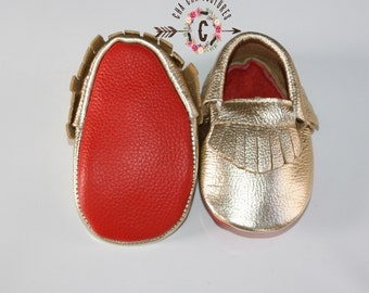 WoW! GOLD RED BOTTOMS 100% genuine leather baby moccasins Mocs moccs top quality, first birthday,