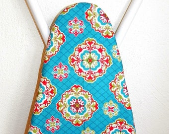 Ironing Board Cover - Turquoise blue, red, white and green floral Fabric