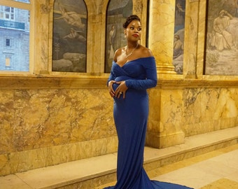 Natasha Maternity Gown,maternity Dress,long Sleeve Dress, Royal Blue Dress ,wedding