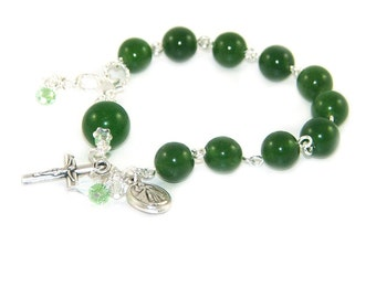 Green Jade Rosary Bracelet, Divine Mercy & Our Lady of Guadalupe