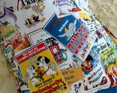 Disney Movie Prints ~ Bambi, Dumbo, Snow White, Alice & more . toddler travel size children's pillow case . hidden seams style 1
