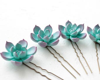 Blue Succulent Hair Pins Hairpin Set Polymer Clay Bobby Pins Hair Decoration Accessory Women Handmade Decoration Wedding Bridal Hair