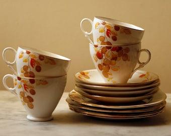 Vintage tea set - 4x trio:  tea cups, saucers, cake plates -  Royal Stafford China - Tea for Four