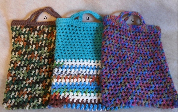 Market Tote Bags: Cameo Green, Turquoise/multi-color, Purple/pink multi-color Crochet Carry All Tote