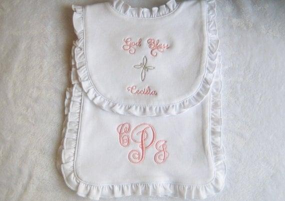 Personalized Baby  Bib  Baptism Cross Bib Christening Bib  Monogram Bib Ruffled Bib Baptism Gift Baby Dedication Gift
