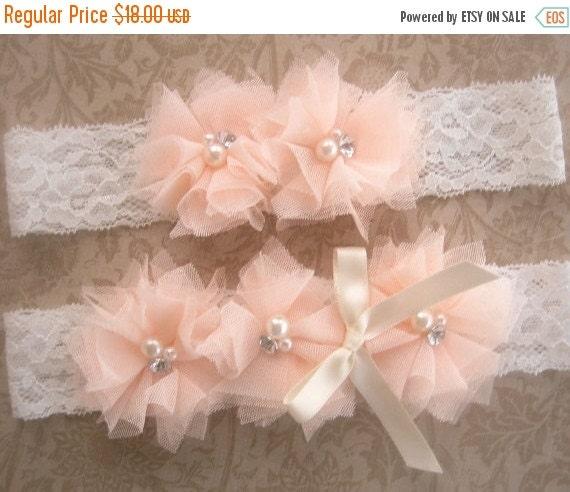 WEDDING SALE 20% OFF Wedding Garter Bridal Garter Set with Toss Garter  Blush Peach Roses Ivory