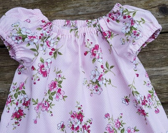 Girl's Infants Toddlers Light Pink Shabby Chic Floral Peasant Dress