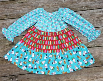 SALE - Girl's Toddlers Aqua and Red Christmas Twirly Tiered Peasant Dress - Size 2T