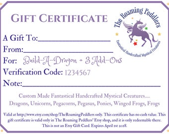Gift Certificate for Build-A-Dragon, Custom Build Your Own Stuffed Animal, Handcrafted Plush Felt Dragon Toy, Kids Gift, Boys Birthday