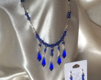 Midnight Sun, Deep Blue Cobalt Crystal Necklace and Earrings with Silver accents by Elstwhen. Crafted by hand in my shop.