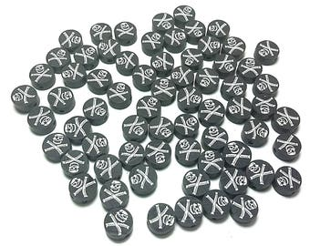 20 Fimo Polymer Clay Coin Round Beads Black Pirate Skull Colors